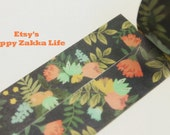 Red Flower with Black - Japanese Washi Masking Tape - 7.6 Yard