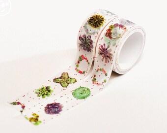 Succulents - Japanese Washi Masking Tape Set - 2 rolls - 3.3 Yards (each roll)