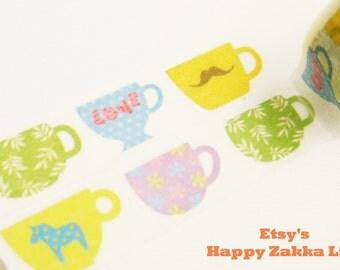 Fun Cups - Japanese Washi Masking Tape - 11 Yards