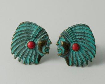 Turquoise-Colored Native American Indian Chief Cufflinks
