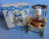 """Vintage Cologne Collectible - """"Gardenia"""" Cologne in clear hobnail Bottle, gold tone plastic Rocker holder, Original Box """"New York U.S.A."""""""