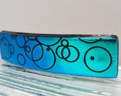 Small Dichroic Fused Glass Barrette Ponytail Teal Blue Circles Barrette Dichroic Jewelry Hair Girls Birthday Gifts Under 25 Dollars