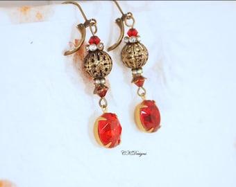 Vintage Style Drop Earrings, Antiqued Brass Dangle Pierced or Clip-on Earrings,  Red Steam Punk Earrings, CKDesigns.US