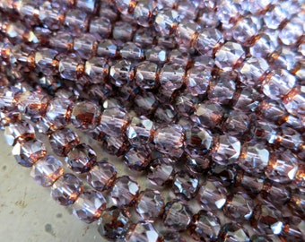 6mm Czech Glass Beads, Alexandrite with Picasso Finish, Cathedral Cut, Firepolish Renaissance Style, Full Strand 25 Beads