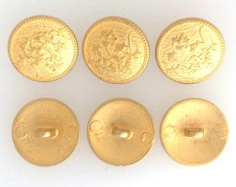 Gold plated emblem button medium: 2576