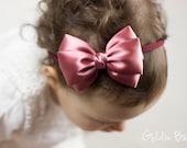 Baby Dusky Rose Emma Bow Clip OR Headband - Flower Girl Headband - Baby Satin Bow - Girls Satin Bow - Bun Hair Bow - Baby to Adult Headband