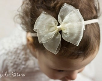 Ivory Organza Bow - Flower Girl Headband - Sophie Ivory Organza Bow Handmade Baby to Adult Headband
