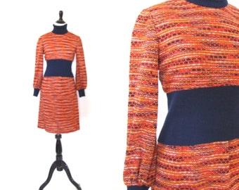 Vintage 1970's Orange Knit Dress Size Small
