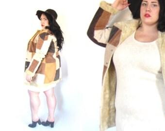 Plus Size Vintage 90's does 70's Patchwork Suede Coat Size Large/XL