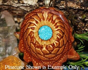 Glowing Crushed Turquoise Third Eye Pinecone Pendant