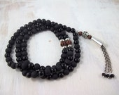 Men's Black gemstone 99 Bead Tasbih Tasbeeh misbahah Subhah muslim Islamic prayer bead wedding gift