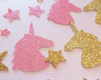 Unicorn Birthday Confetti ~ Table Scatter ~ 150 Gold & Pink Glitter Unicorn Heads and Stars