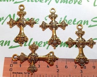 4 pcs per pack 52x35mm Fancy Cross Pendant Antique Gold Lead Free Pewter