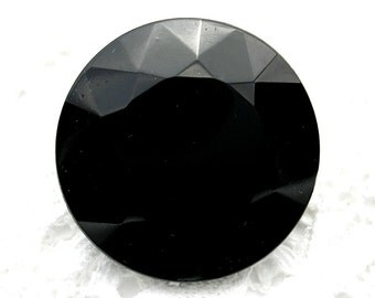 Jet Black Vintage Czech Glass Jewel - 32mm Round