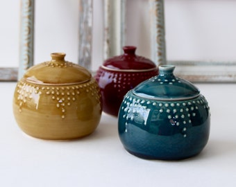 Ceramic Lidded Jar - 10 oz. Canister - 16 Color Choices - Blue, Green, White, Yellow, Red - Modern Home Decor - MADE TO ORDER