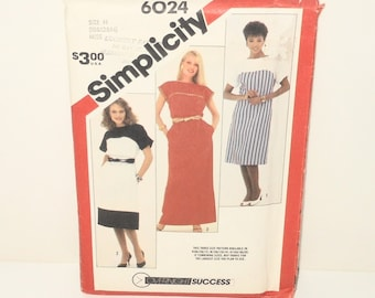 Vintage Simplicity 1983 Overnight Success Misses Pullover Dress In Two Lengths And Sash UNCUT Pattern Number 6024