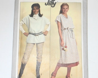 Vintage Simplicity 1978 Miss Jiffy Pullover Tunic In Two Lengths Skirt And Tie Belt UNCUT Pattern Number 8610