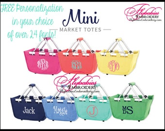 Personalized Tote ~ Personalized Mini Market Tote ~ Monogrammed Market Tote ~ lots of colors ~ quick shipping!