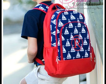 SALE - Boys Personalized Backpack - Sailboats Monogrammed Backpack - Personalized Book Bag ~ Quick Shipping!