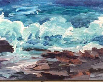 Rolling Surf on the Rocks at Pemaquid Point Maine Diptych Ocean Waves on Canvas original  artwork by Lynne Vokatis