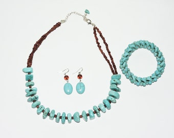 Turquoise Jewelry Set Beaded Necklace Earrings Bracelet Blue Stone Brown Beads