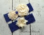 BLUE and CREAM Bridal Garter Set - Keepsake & Toss Wedding Garters - Chiffon Flowers Pearl Rhinestone Garters - Something Blue