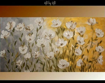 """ORIGINAL XLarge gallery wrap canvas  modern oil impasto floral fine art painting  """"White Passion"""" by Nicolette Vaughan Horner"""