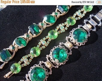 Now On Sale Vintage Green Rhinestone Juliana Bracelet Beautiful Sustantial Bold Chunky Collectible 1960's Jewelry