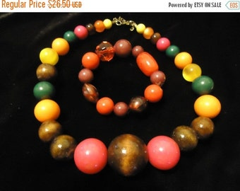 Now On Sale Vintage Beaded Necklace Bracelet Set Orange Yellow Green Red Brown Lucite Jewelry 1960 1970s Retro Rockabilly Glamour Girl Style