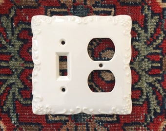 Lightswitch Cover and Electrical Outlet Cover - Double Switchplate Cover - Light Switch Cover - White Porcelain - Bone China
