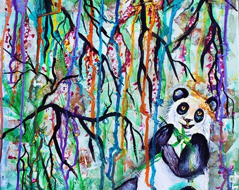 Panda painting, chinese, japanese, bamboo forest, chinese art, wall art, home decor, asian, panda tattoo, panda gift, panda art, panda bear