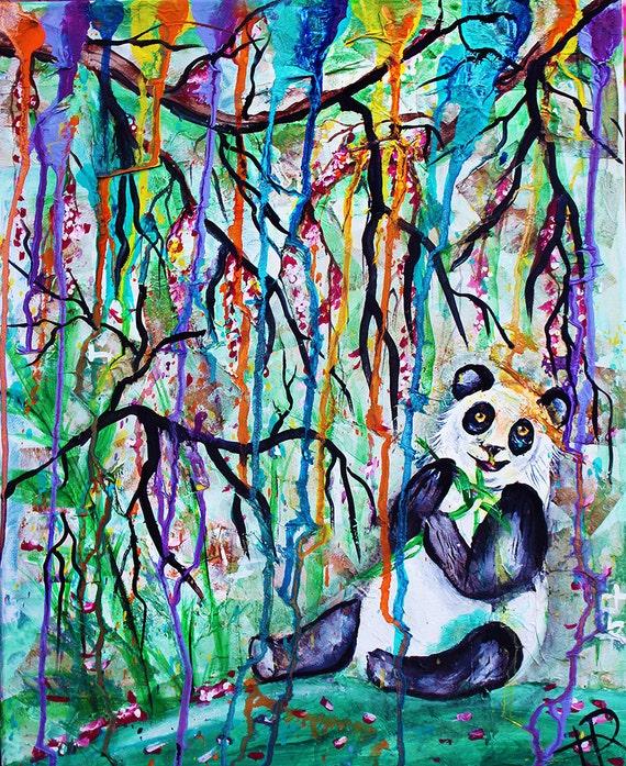 Panda painting chinese japanese bamboo forest chinese art