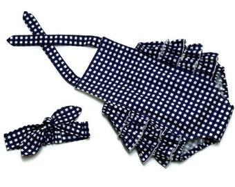 Baby Girl Ruffle Sunsuit Romper Infant Toddler Navy Gingham Size 0 - 3 month, 3 - 6 month, 6 - 12 month, 12 - 18 month, 18 - 24 month