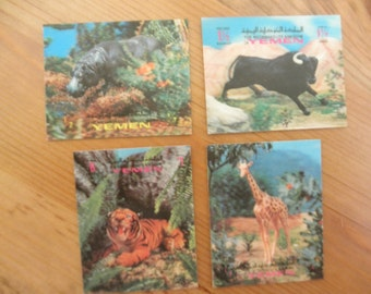 Yemen 3D African Zoo Animal Postage Stamps Self Adhesive Tiger Hippopotamus Giraffe Buffalo Diorama Assemblage Mixed Media Scrapbook Supply