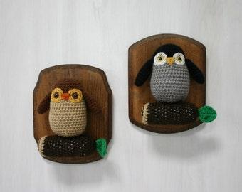 Crochet Taxidermy Owlets on a Log