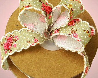 "5yds Beautiful ""Jena"" Light Olive Green Polka Dot Floral Vintage 1"" Scalloped Edge Fabric Ribbon (FREE SHIPPING!)"