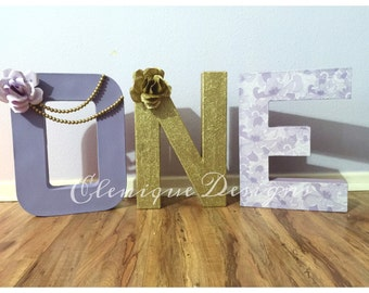 Purple & Gold One Letters