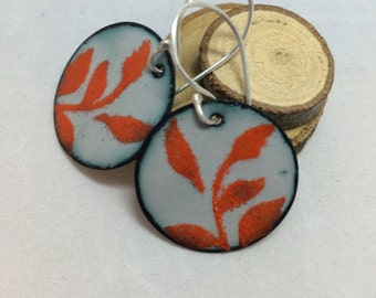 Grey Enamel Earrings with Orange Floral Motif