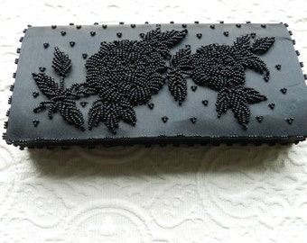 Vintage Black Beaded Evening Clutch - Purse - Formal  and Elegant by Fortune