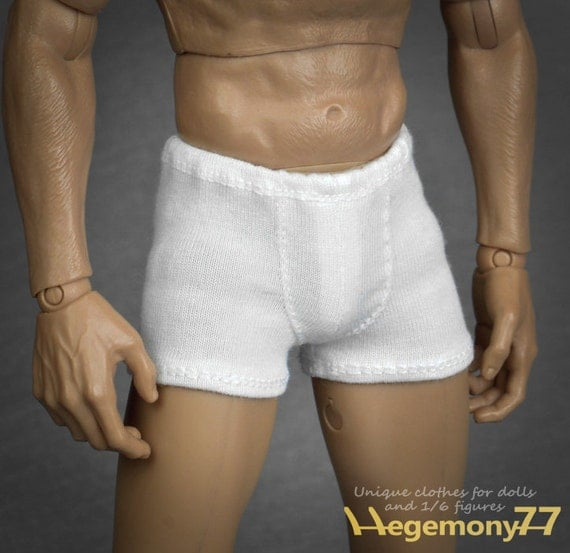 1/6th scale white boxer briefs men's underwear for: regular size action figures and Fashion Royalty male dolls