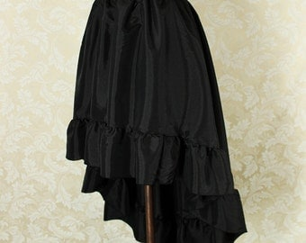 """Steampunk High Low Cecilia Skirt, Longer Length -- Black Taffeta -- Ready to Ship -- Best Fits Up To 48"""" Waist"""