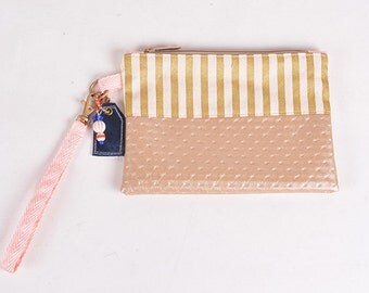 Gold Stripe Wristlet Clutch