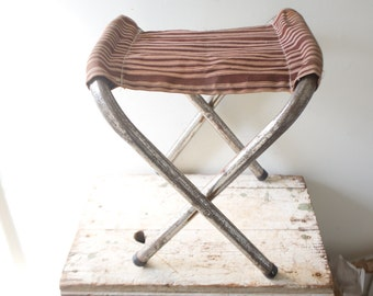 Vintage Camp Stool - Striped Wooden Folding Stool Canvas Foldup Stool Folding Seat Camping Beach Tailgate Chair