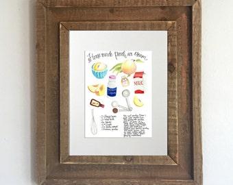 Watercolor Recipe Print: Peach Ice Cream, Kitchen Decor, Recipe Print, Recipe Art, Kitchen Artwork, Home Decor, Georgia Peach
