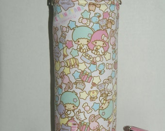 """Insulated Water Bottle Holders For 40oz Hydro Flask w/ Interchangeable Handles & Strap Made with """"Little Twin Star - Pop Stars"""" Fabric"""