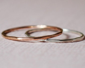Silver and Rose Gold Ring Set/Thin Stacking Rings/Sparkle,Custom Teeny Weenie Slightly Beaten Ring Duo*Sterling Silver and Rose Gold Filled*