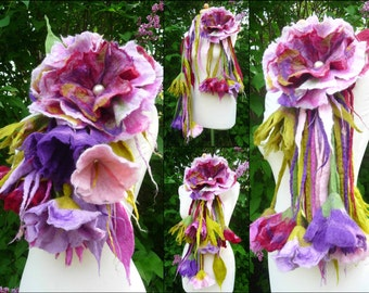 felted wool flower necklace, lariat, belt ,scarf, handmade, felt, lagenlook, MADE TO ORDER, custom made, bespoke, eco friendlyy