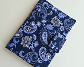 Kindle/Nook/iPad mini Cover/case quilted in a Navy/Periwinkle Paisley print