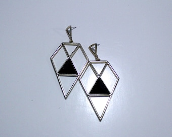 summer sale - architectural gold diamond shape earrings with black center