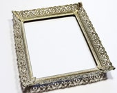 Metal Filigree Frame Vintage Ornate Gold Tone White Wash 8 x 10 Photo Picture Portrait Open Frame Cottage Chic Home Decor itsyourcountry
